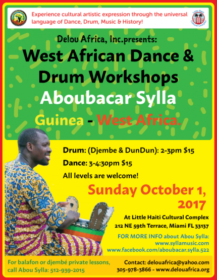 West African Dance & Drum Workshops with Aboubacar Sylla @ Little Haiti Cultural Complex