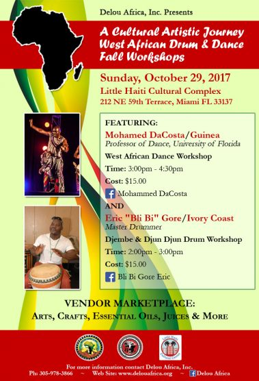A Cultural Artistic Journey   West African Drum & Dance  Fall Workshops @ Little Haiti Cultural Complex