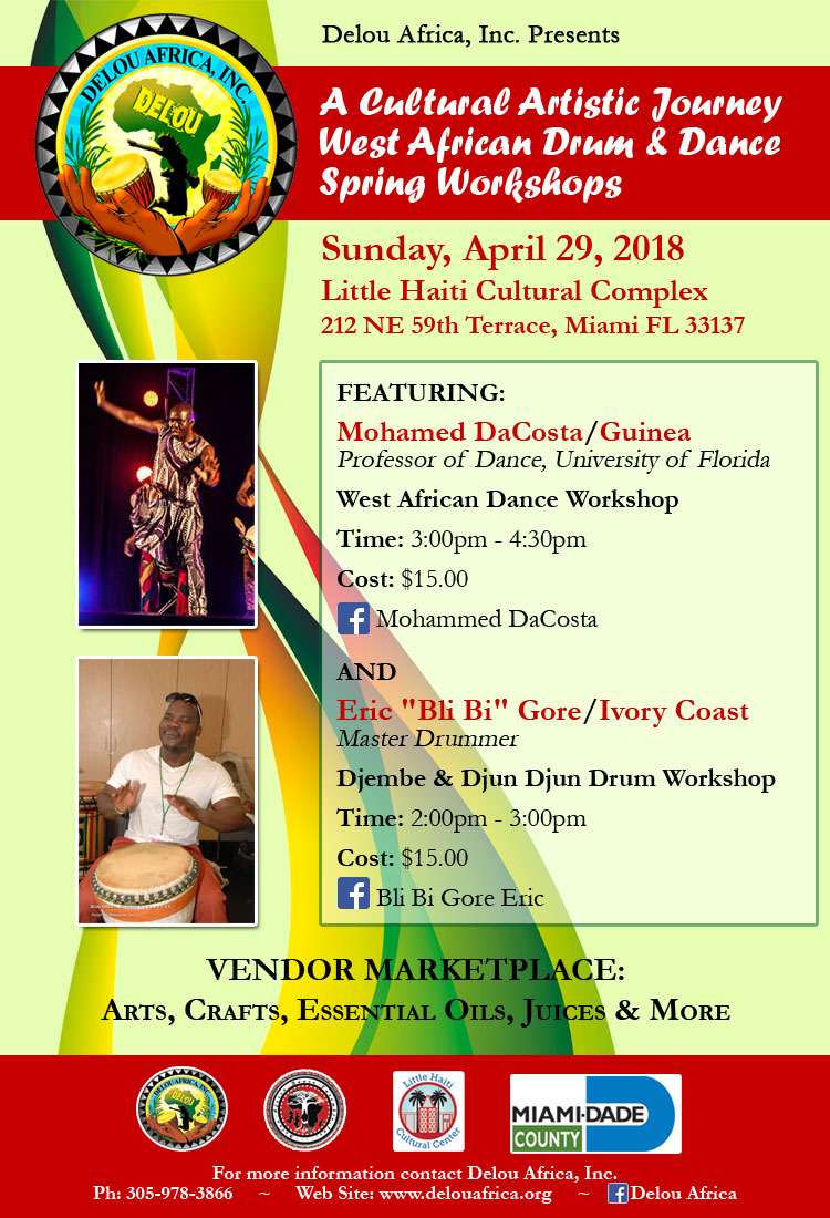 A Cultural Artistic Journey West African Drum & Dance Spring Workshops @ Little Haiti Cultural Complex