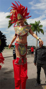 stilt walker at carnival