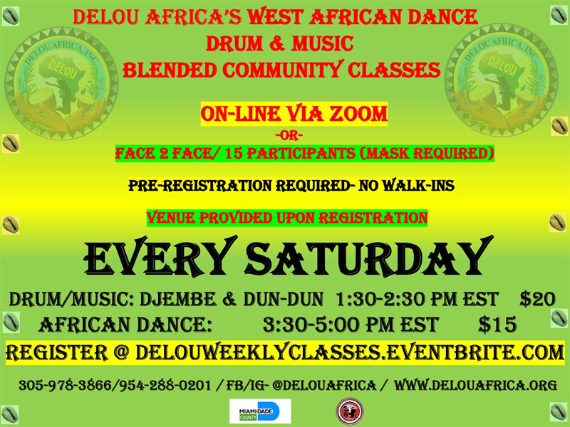Saturday African drum and dance classes